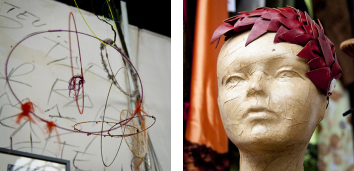 Installation de CheLoU à gauche et chapeau de Chapoline à droite