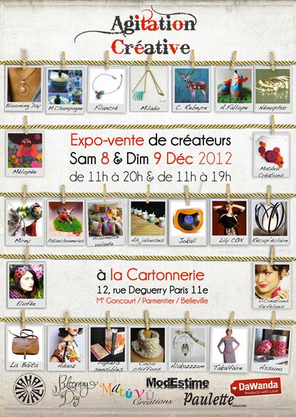 Agitation Créative à la Cartonnerie de Paris les 8 et 9 décembre 2012