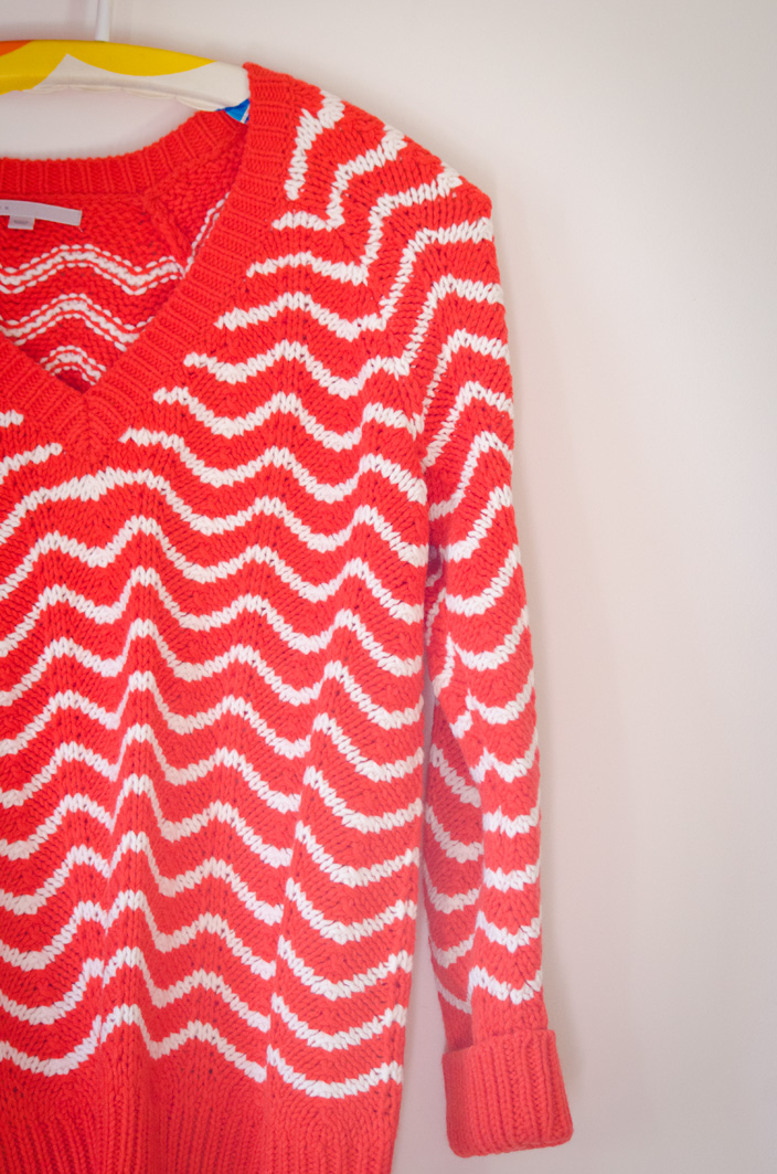 pull laine corail et blanc ultra confortable
