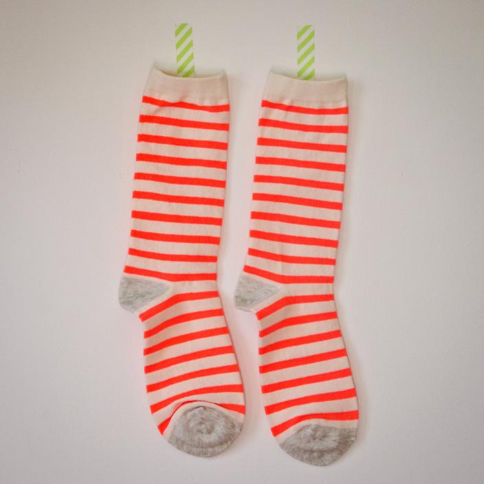 chaussettes corail rayées