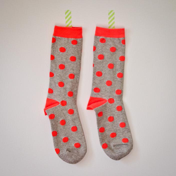 chaussettes corail pois