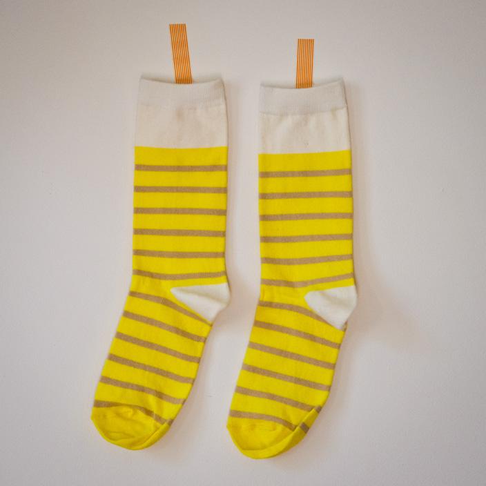 Chaussettes jaunes rayées