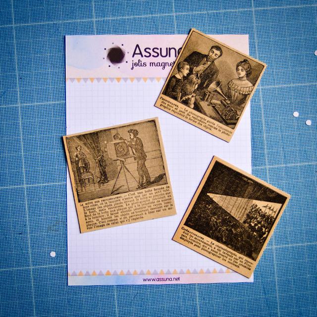 Atelier assuna magnets rétro vintages packaging