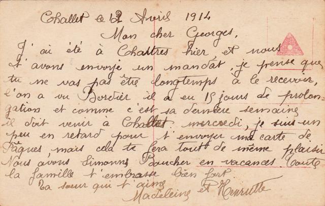 Joyeuses Pâques carte rétro 1914 oeuf dos