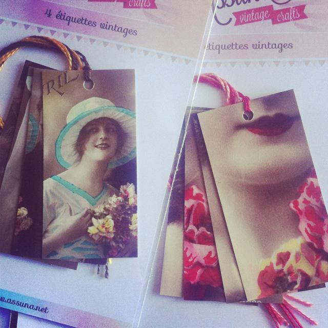 Étiquettes à cadeaux vintages à partir de cartes postales anciennes sur Instagram