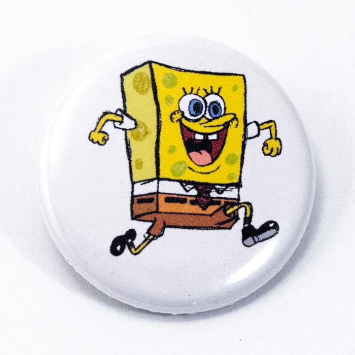 Badge 32mm Bob l'éponge blanc