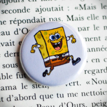 Badge 32mm Bob l'éponge blanc