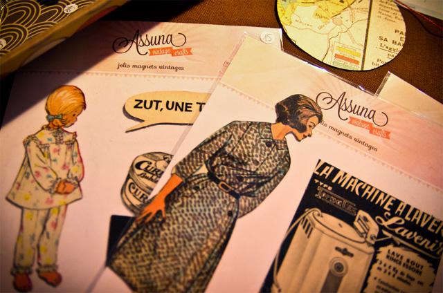 Planches thématiques de magnets vintages. Stand Assuna aux Boutiques Ephémères à La Bellevilloise