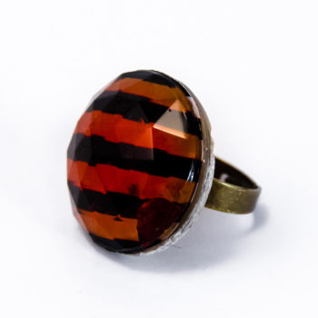 Bague strass verre orange