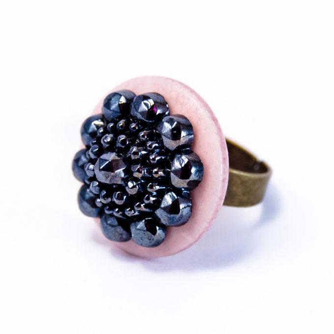 Bague bouton 1920 rose