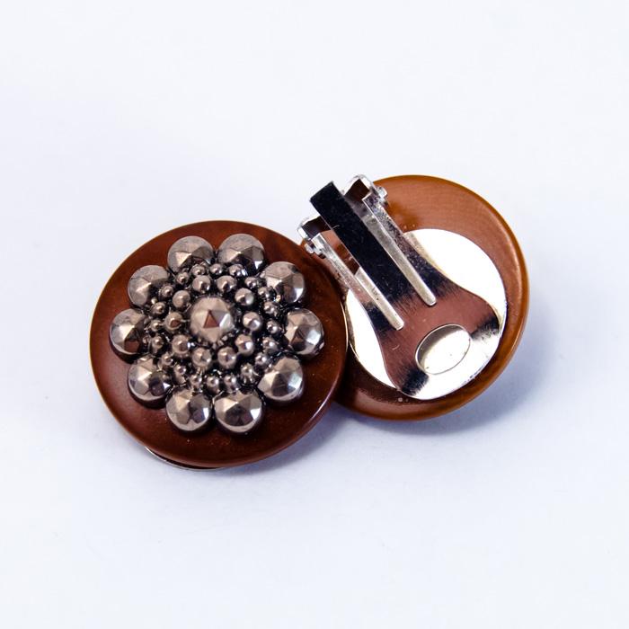 Boucles boutons 1920 marron clip