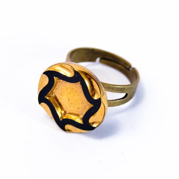 Bague bouton 1920 étoile dorée