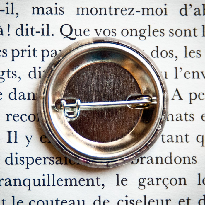Badge vintage 32mm Sincères affections dos