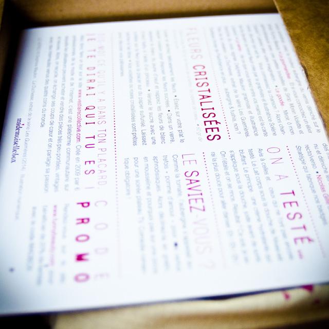 La fiche recto/verso de la Mademoiselle Box #03