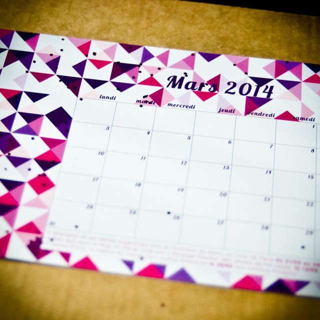 Le calendrier du mois de mars de la Mademoiselle Box #03