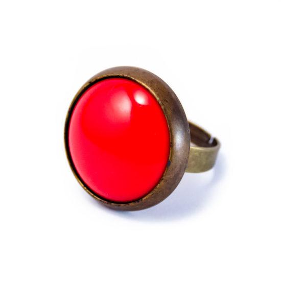 Grosse bague rétro rouge