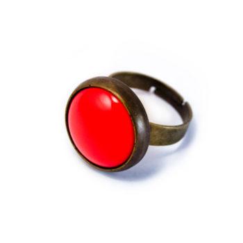 Petite bague rétro rouge