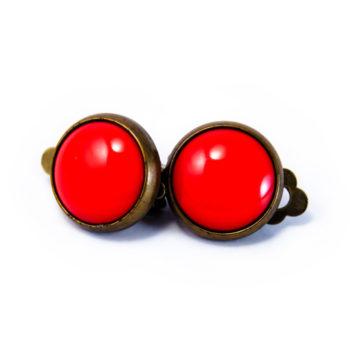 Boucles rétros clip rouges