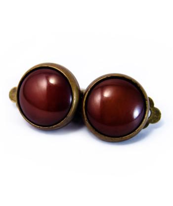 Boucles rétros clip marron