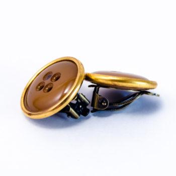 Boucles boutons marron et or à clip