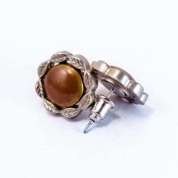 Boucles boutons fleur marron et argent