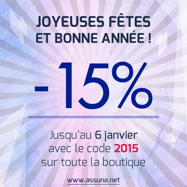 -15% sur toute la boutique Assuna avec le code 2015 jusqu'au 6 janvier