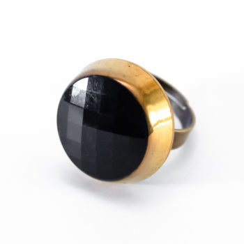 Golden and black Liliane ring