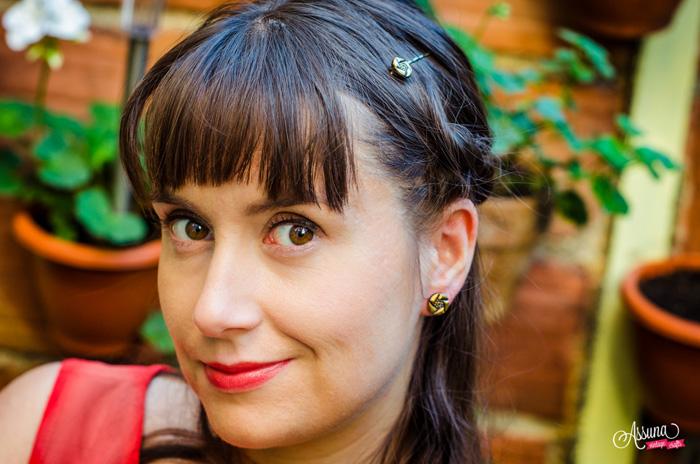 Assuna 2015/2016 - Boucles d'oreilles et barrette boutons anciens - Arlette doré