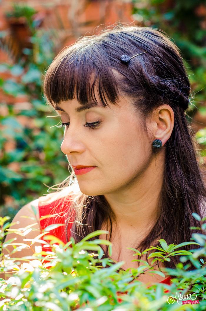 Assuna 2015/2016 - Boucles d'oreilles et barrette boutons anciens - Odile