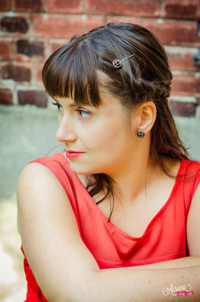 Assuna 2015/2016 - Boucles d'oreilles et barrette boutons anciens - Paulette argenté