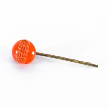 Orange Georgette hair pin