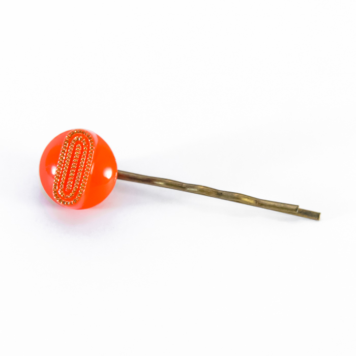 Orange Georgette hair pin