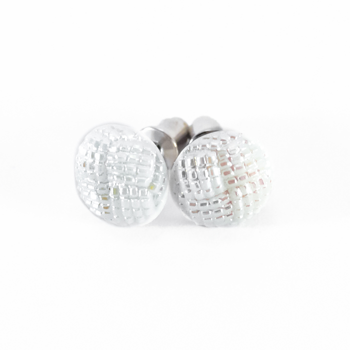Small white studs earrings Blanche