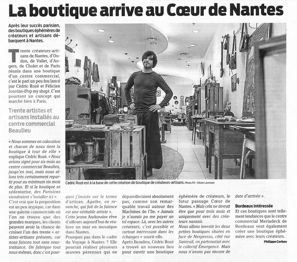 La boutique éphémère nantaise © Presse Océan du 24 février 2016