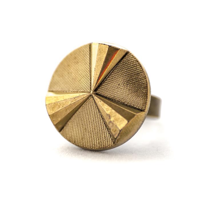 Assuna - Grande bague Angèle dorée - Bague bouton ancien d'inspiration vintage