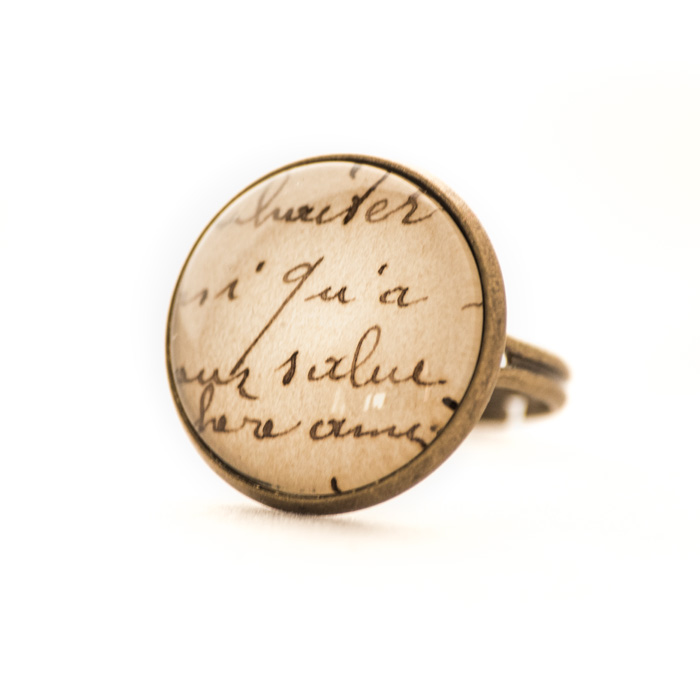 Vintage postcard ring Writing