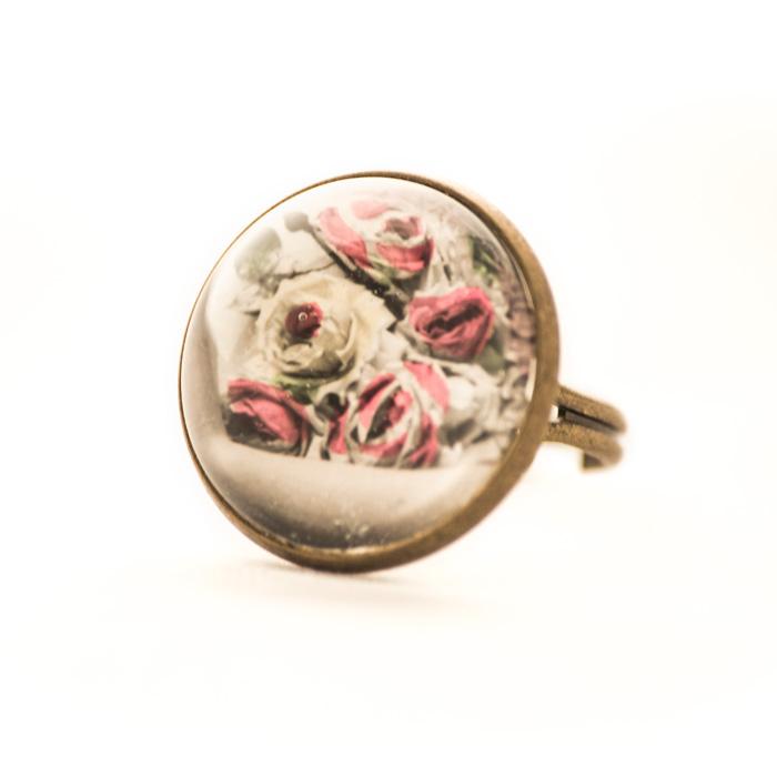 Vintage postcard ring Pink Flowers