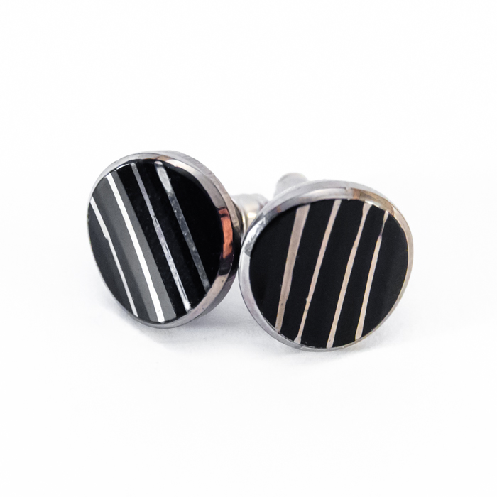 Louise silver and black studs earrings