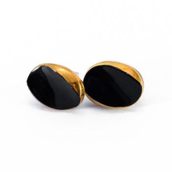 Boucles d'oreilles Yvette dorées et noires