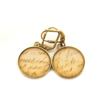 Golden postcard studs earrings Sepia Writing