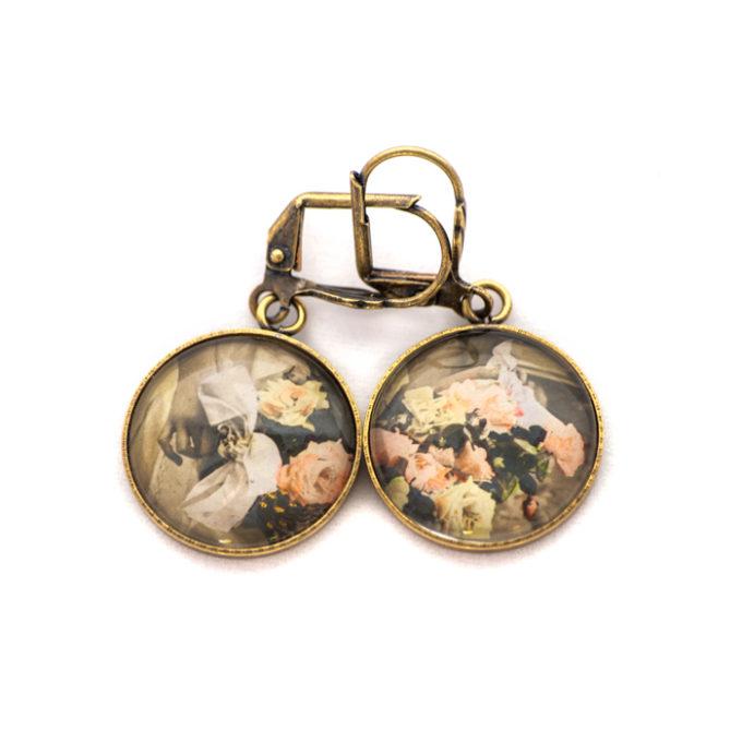 Boucles d'oreilles carte postale Fleurs Bouquets Main