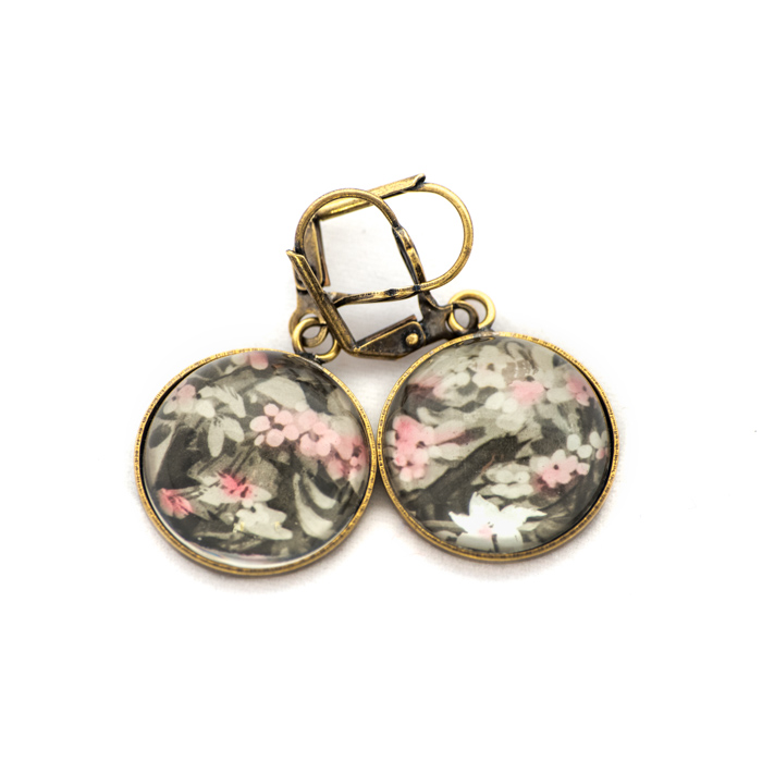 Golden postcard studs earrings Flowers Bush