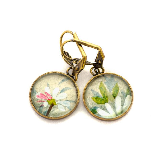 Boucles d'oreilles dorée carte postale Fleurs Marguerites