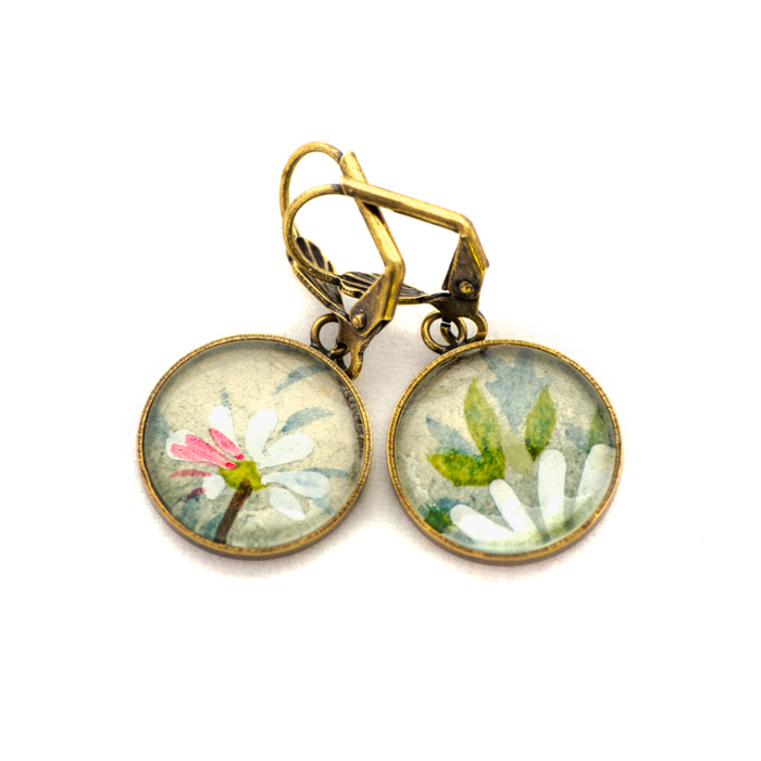 Golden postcard studs earrings Flowers Marguerites