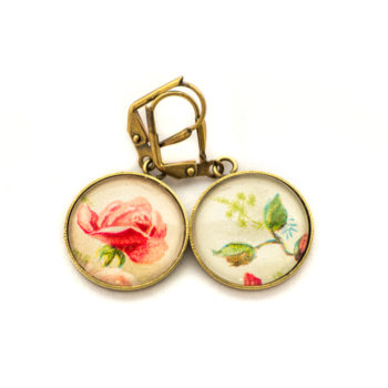 Golden postcard studs earrings Pink Flowers and Branch