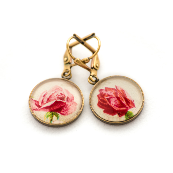 Golden postcard studs earrings Pink Flowers White Background