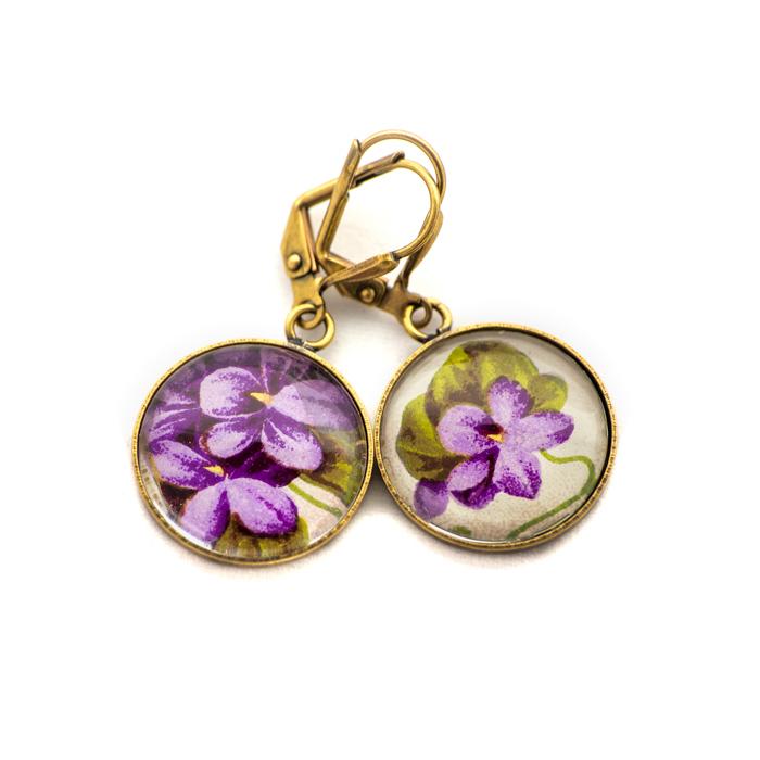 Golden postcard studs earrings Purple Flowers