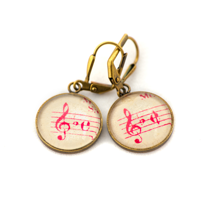 Golden music sheet studs earrings Pink Clé Bémol