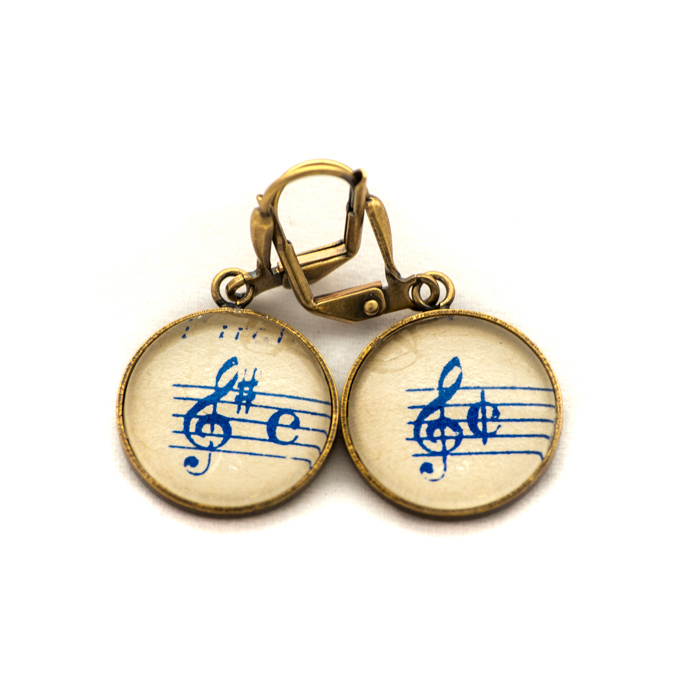 Golden music sheet studs earrings Blue Clé