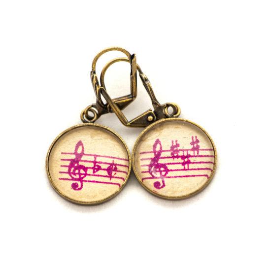 Boucles d'oreilles dorée Partitions Clés Violettes